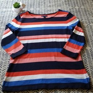 Gap 3/4 Sleeve Striped Top Size Small